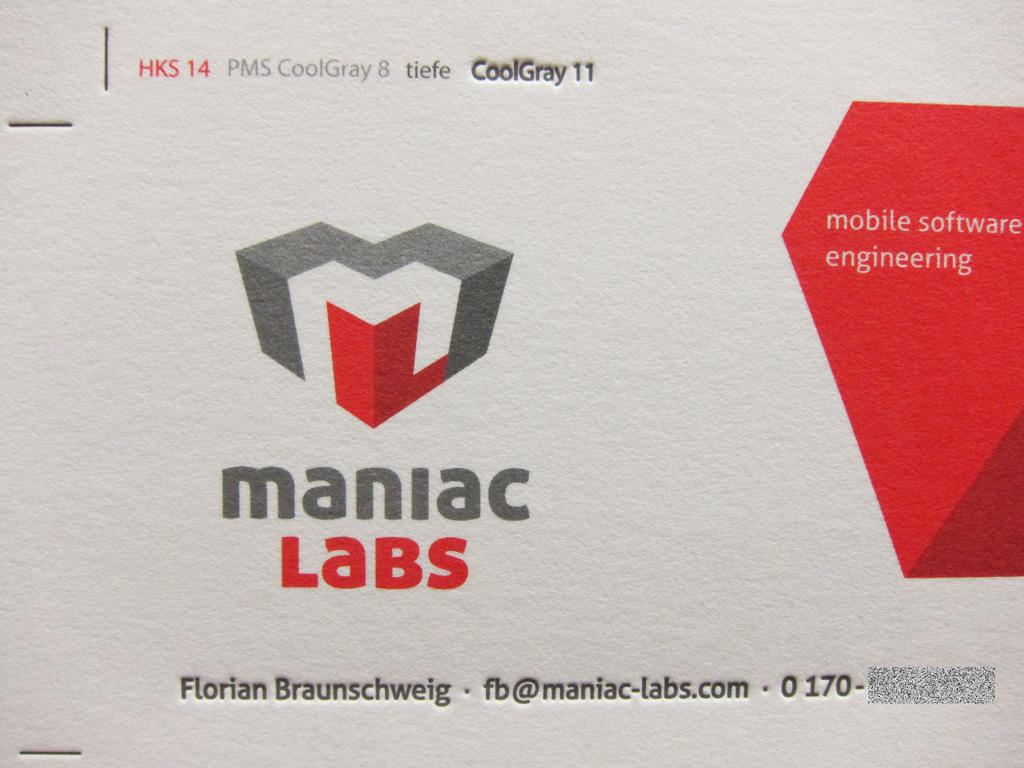 Letterpress-Visitenkarte maniaclabs by Letterjazz